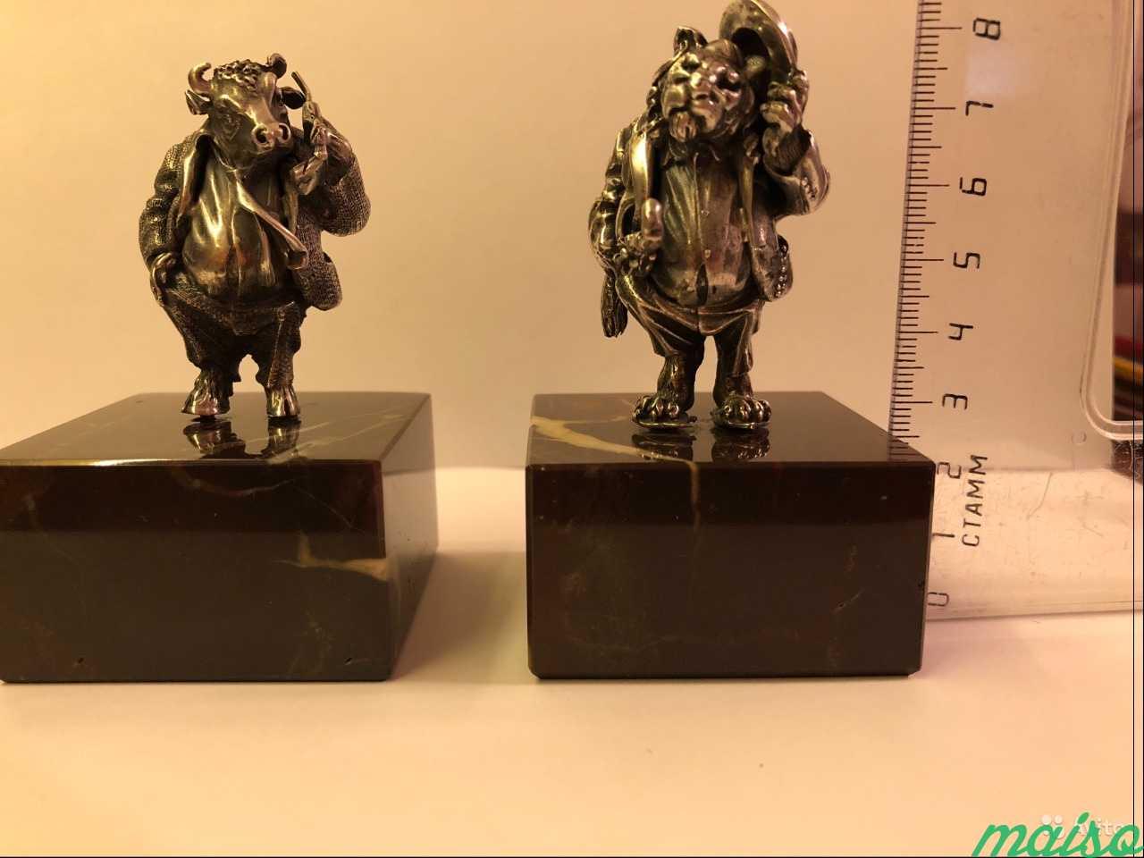 Ювелирные изделия из серебра бык и лев в Москве. Фото 5