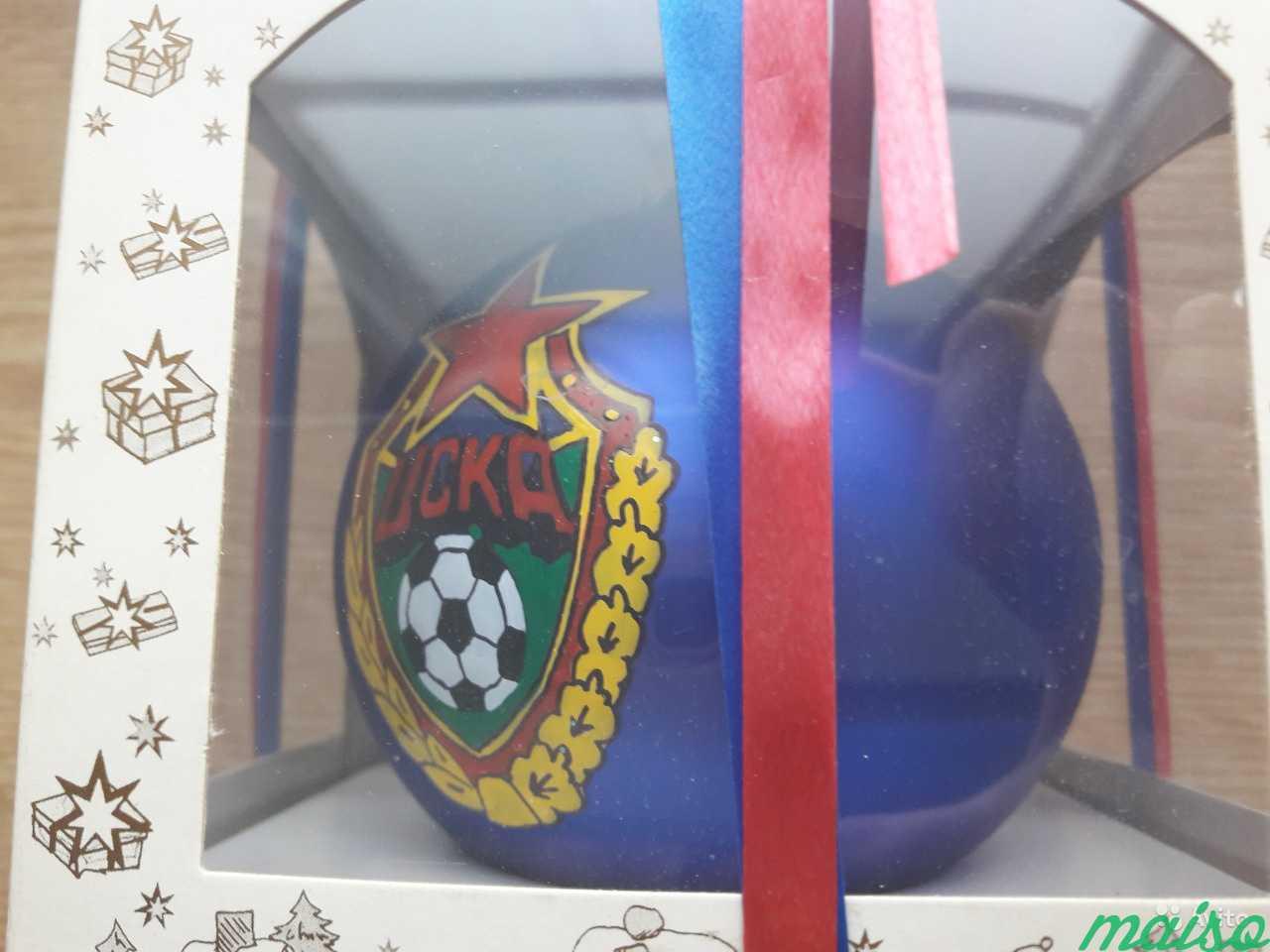 Елочный шар с эмблемой фк цска (ручная работа) в Москве. Фото 1