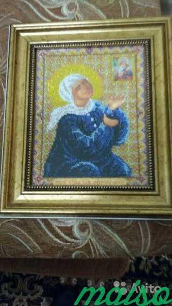 Икона Матроны Московской вышитая бисером в Москве. Фото 1
