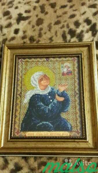 Икона Матроны Московской вышитая бисером в Москве. Фото 3