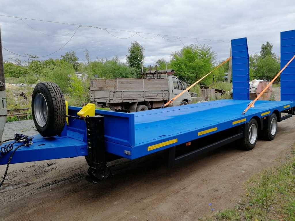Низкорамный прицеп для перевозки спец техники до 9 тонн в Москве. Фото 1