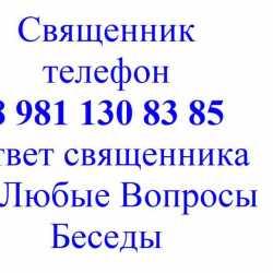 Батюшка телефон +7 981 130 83 85 беседы вопросы онлайн