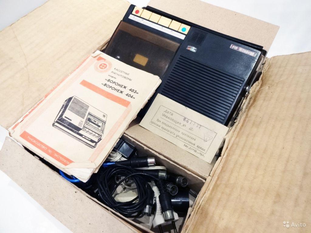 Кассетный магнитофон'Воронеж-404'1977г. В коробке в Москве. Фото 1