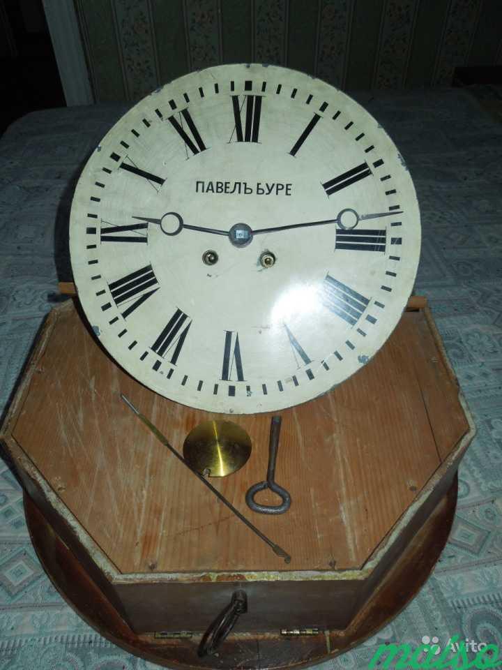 Часы П.Буре шайба зальные d 50 см 19 век в Москве. Фото 5