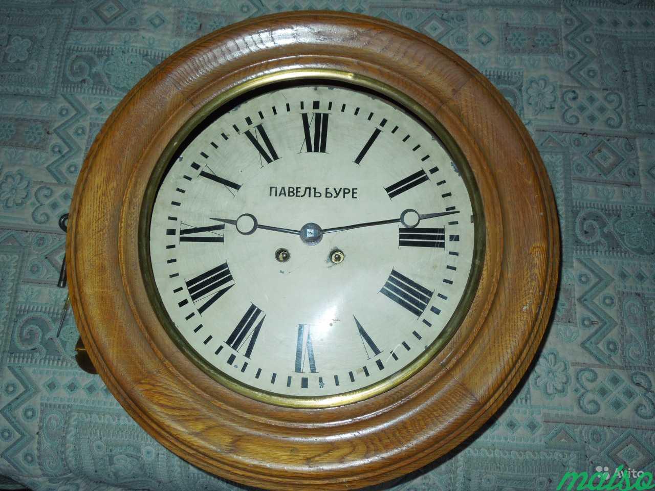 Часы П.Буре шайба зальные d 50 см 19 век в Москве. Фото 1