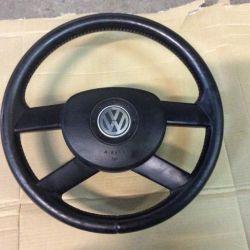 Кожаный руль с airbag на Volkswagen Polo 4