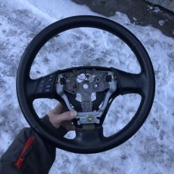 Руль кожаный Mazda 3 BK ровный оригинал бушный