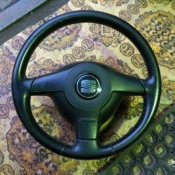 Руль sport и подушка на VW Skoda Seat трехспицевый