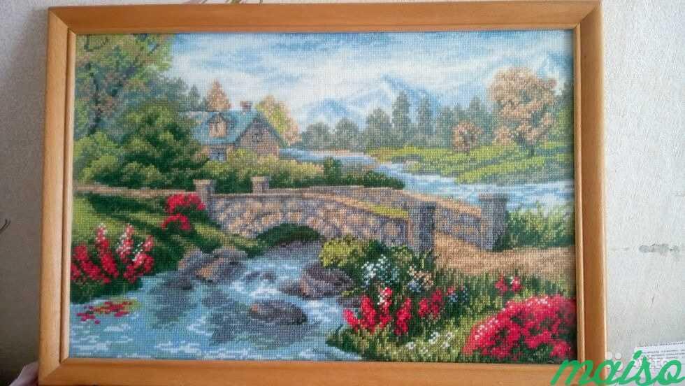 Картина вышитая крестиком 41x20, ручная работа в Москве. Фото 1